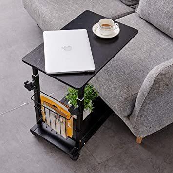ブラウン NeatClean サイドテーブル 昇降式 コの字型デザイン 可移動デスク キャスター付きデスク 収納棚 付き ナイト_画像7