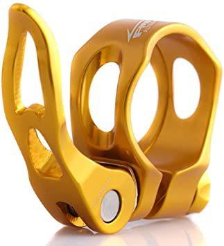 ゴールド 34.9mm UPANBIKE アルミニウム合金 自転車用シートポストクランプ 中空 クイックリリース 31.8mm_画像1