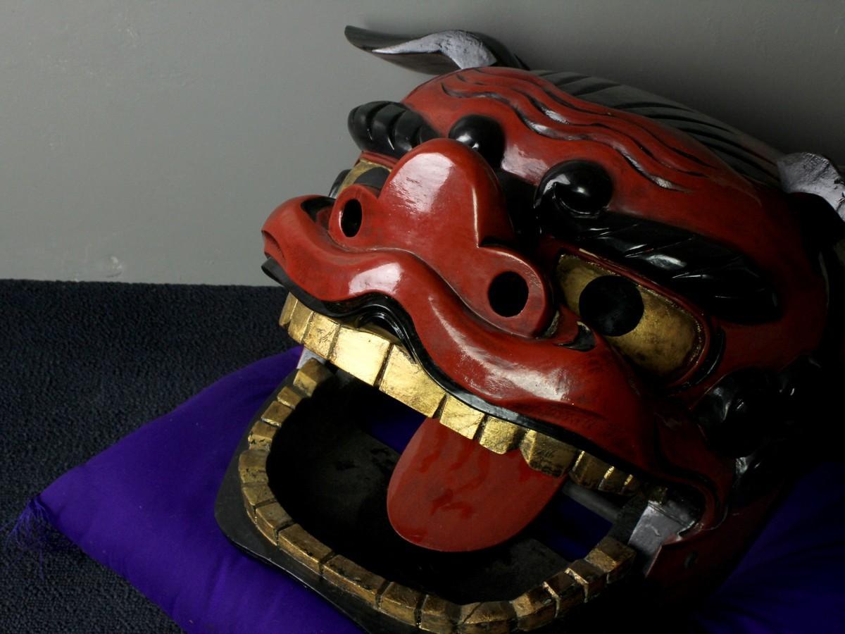 古美術品 獅子頭置物 48cm 獅子舞 時代古玩神楽 旧家収蔵品 (7823) 1JR28.2