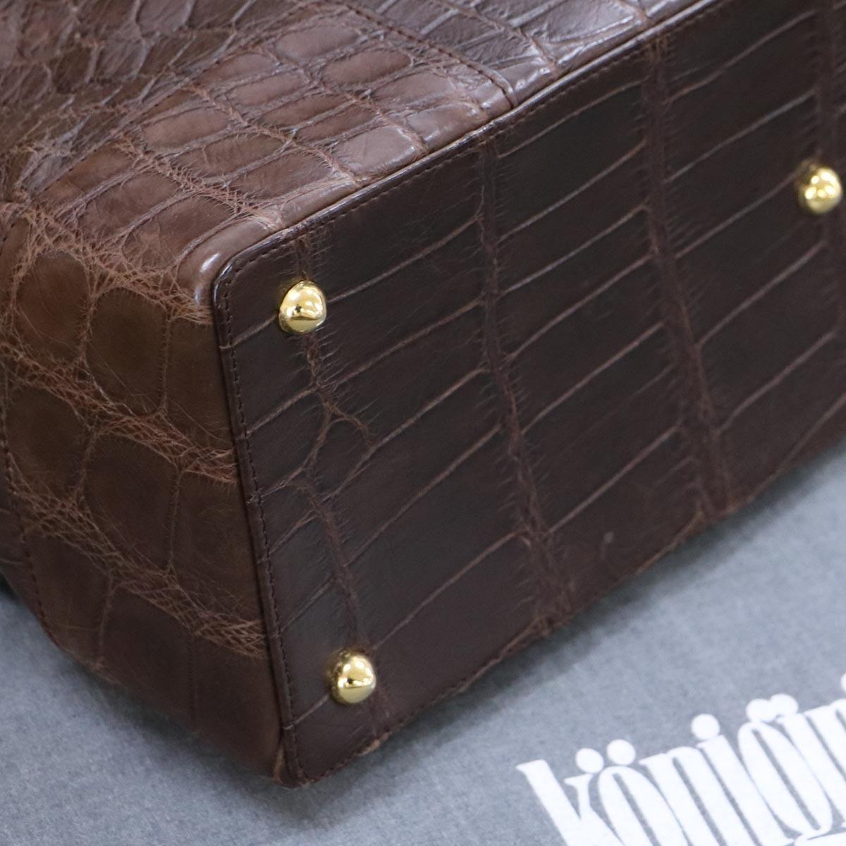 本物 極上品 クーニギン 最高級マットクロコダイルレザートートバッグ 総ワニ革 クロコレザーショルダーバッグ 袋 冊子付 KONIGIN_画像7