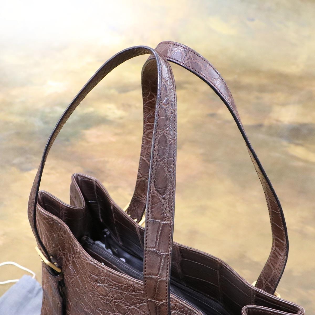 本物 極上品 クーニギン 最高級マットクロコダイルレザートートバッグ 総ワニ革 クロコレザーショルダーバッグ 袋 冊子付 KONIGIN_画像5