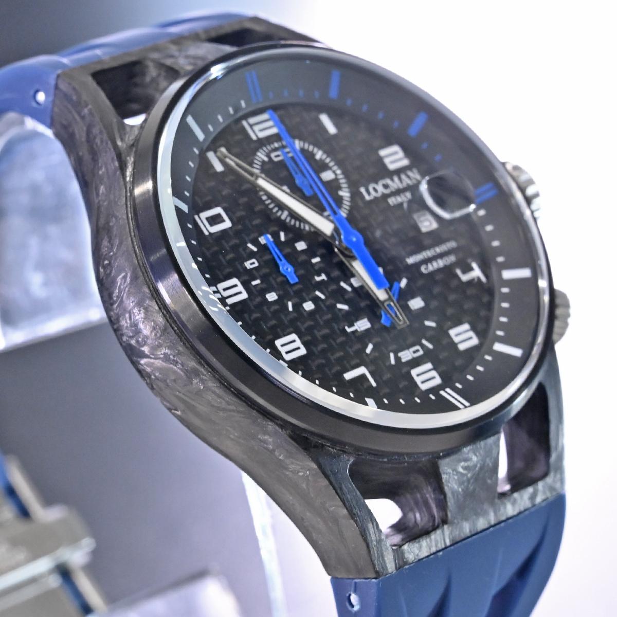 本物 新品 ロックマン 極希少 フォージドカーボン MONTECRISTO CARBON クロノグラフ メンズウォッチ 男性用腕時計 元箱 冊子付 LOCMAN_画像5
