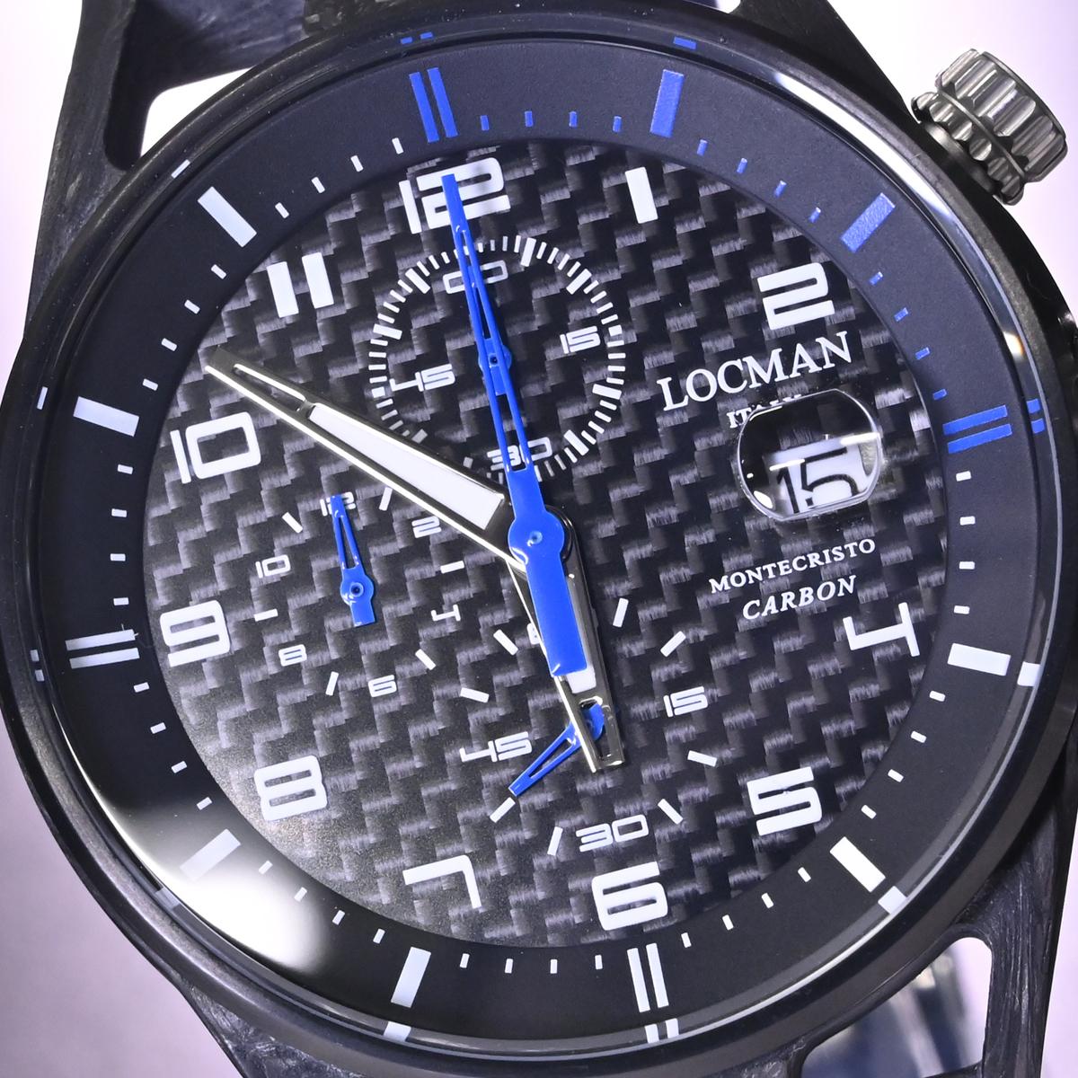 本物 新品 ロックマン 極希少 フォージドカーボン MONTECRISTO CARBON クロノグラフ メンズウォッチ 男性用腕時計 元箱 冊子付 LOCMAN_画像3