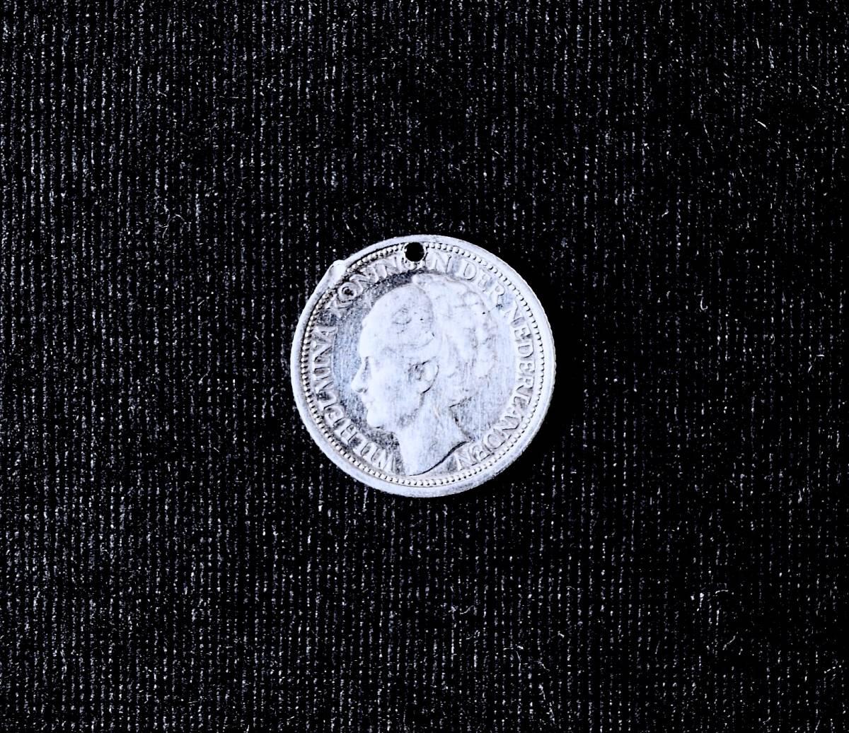 SALE/ 1939年 オランダ Wilhelmina女王 純銀貨コインチャーム ペンダント 懐中時計チェーン ネックレス鎖フォブ ブレスレット アンティーク_ セール