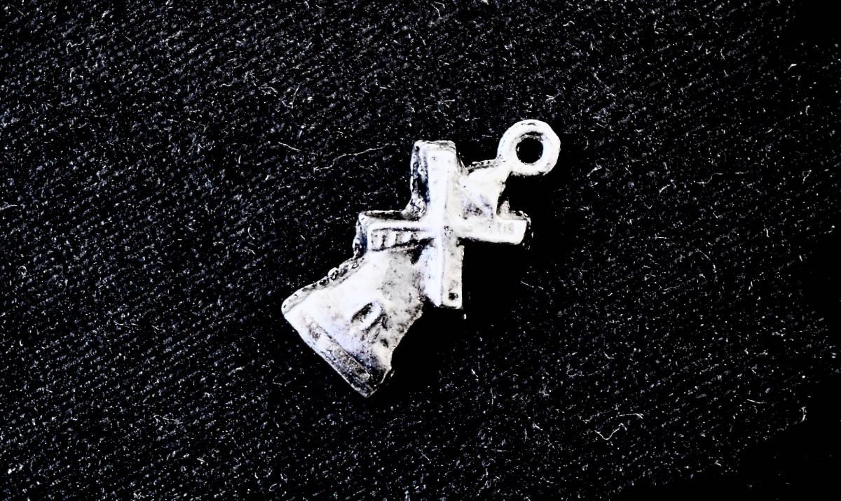 英国 ビンテージ 銀チャーム 『風車』 シルバー 懐中時計チェーン 鎖 フォブ ペンダント ネックレス ブレスレット_画像1