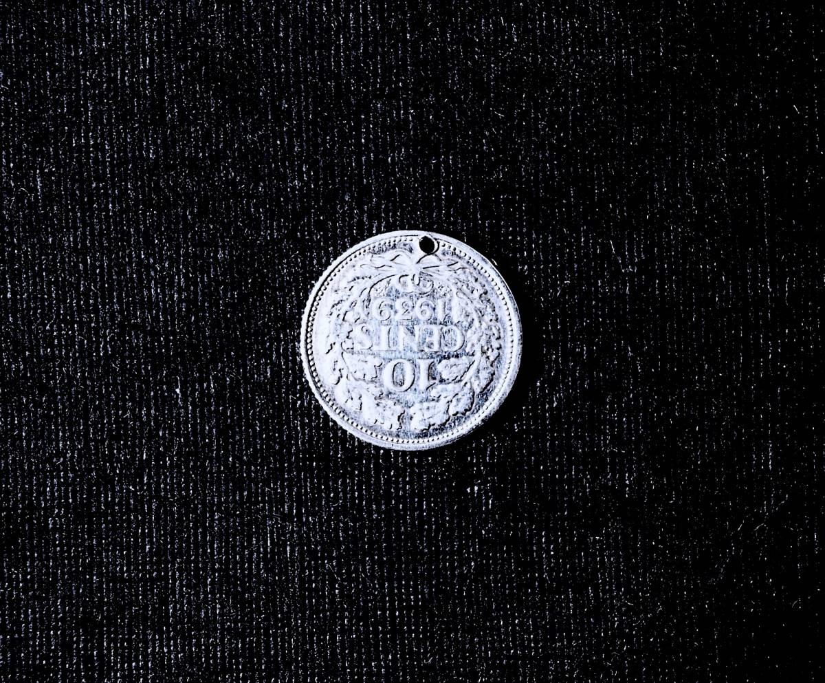 SALE/ 1939年 オランダ Wilhelmina女王 純銀貨コインチャーム ペンダント 懐中時計チェーン ネックレス鎖フォブ ブレスレット アンティーク_画像2