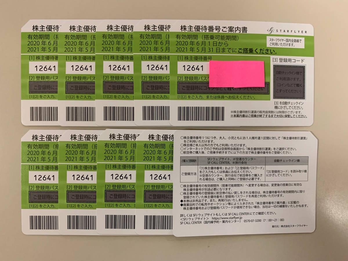 SFJ スターフライヤー株主優待券 10枚セット(2021年5月31日まで)送料無料_画像1