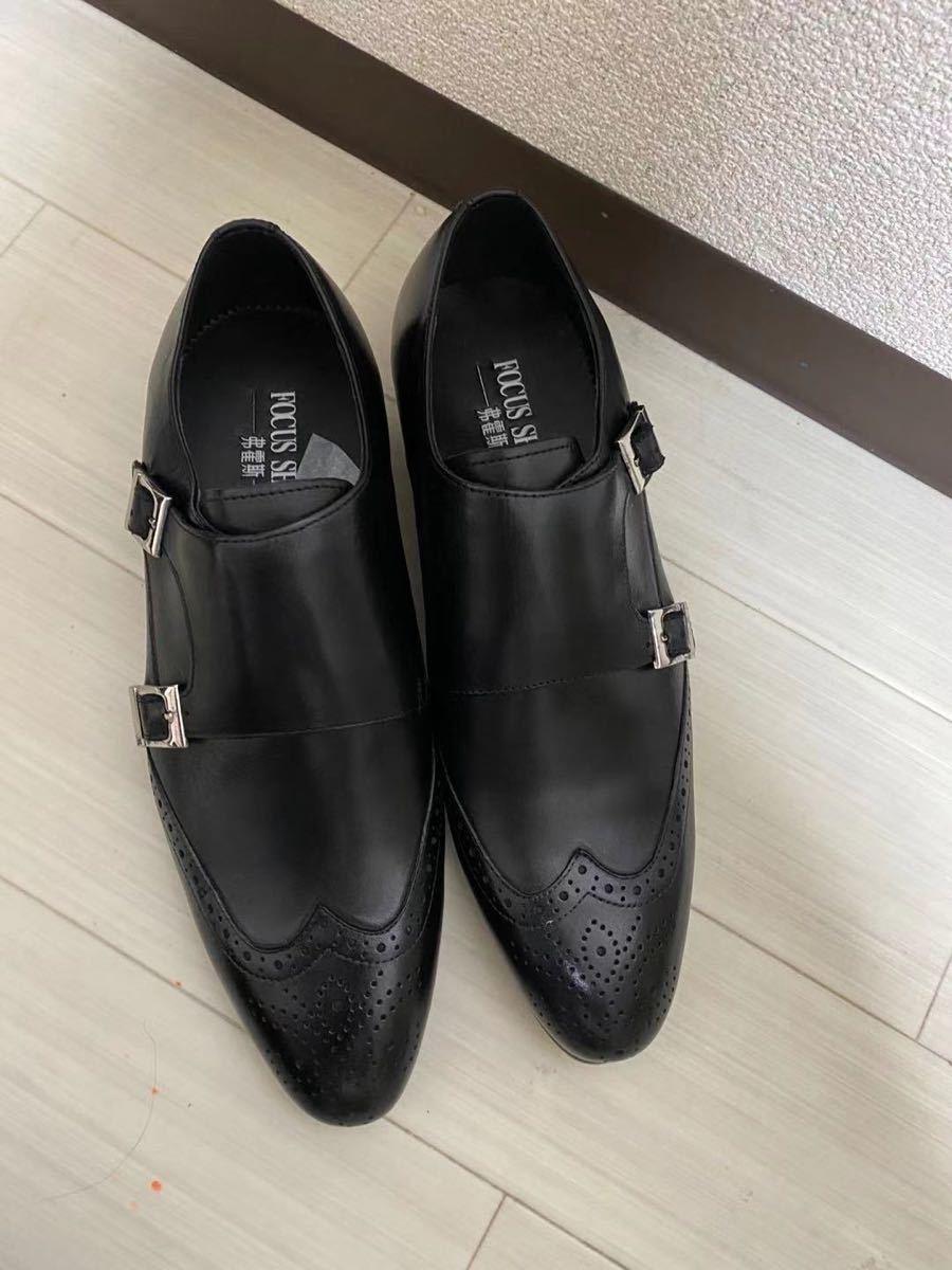 ビジネスシューズ 本革 ローファート 革靴 紳士靴 メンズ モンクストラップ 25cm