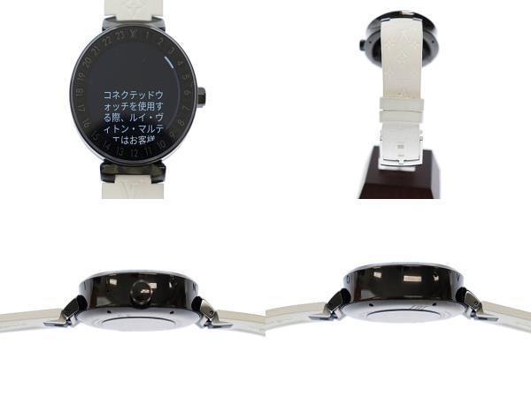 ルイヴィトン LOUIS VUITTON タンブール ホライゾン スマートウォッチ デジタル 腕時計 ラバー モノグラム ベルト QA002Z 黒 白 ▲■_画像4