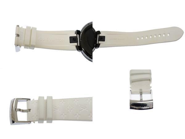 ルイヴィトン LOUIS VUITTON タンブール ホライゾン スマートウォッチ デジタル 腕時計 ラバー モノグラム ベルト QA002Z 黒 白 ▲■_画像5