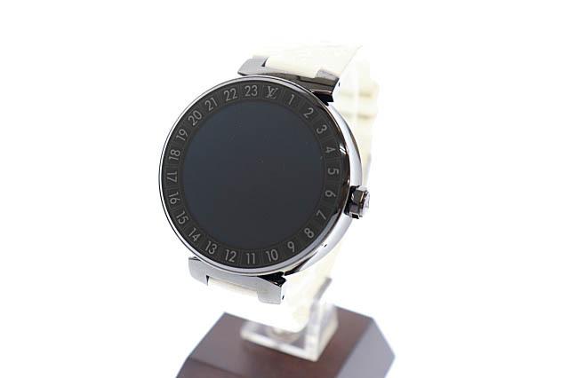 ルイヴィトン LOUIS VUITTON タンブール ホライゾン スマートウォッチ デジタル 腕時計 ラバー モノグラム ベルト QA002Z 黒 白 ▲■_画像1