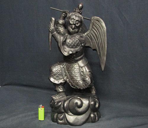 黒檀 紫檀の堅木造り一木彫り 作り込みが良い 大型 迦楼羅像 カルラ像 検 中国美術仏教美術李朝民間信仰