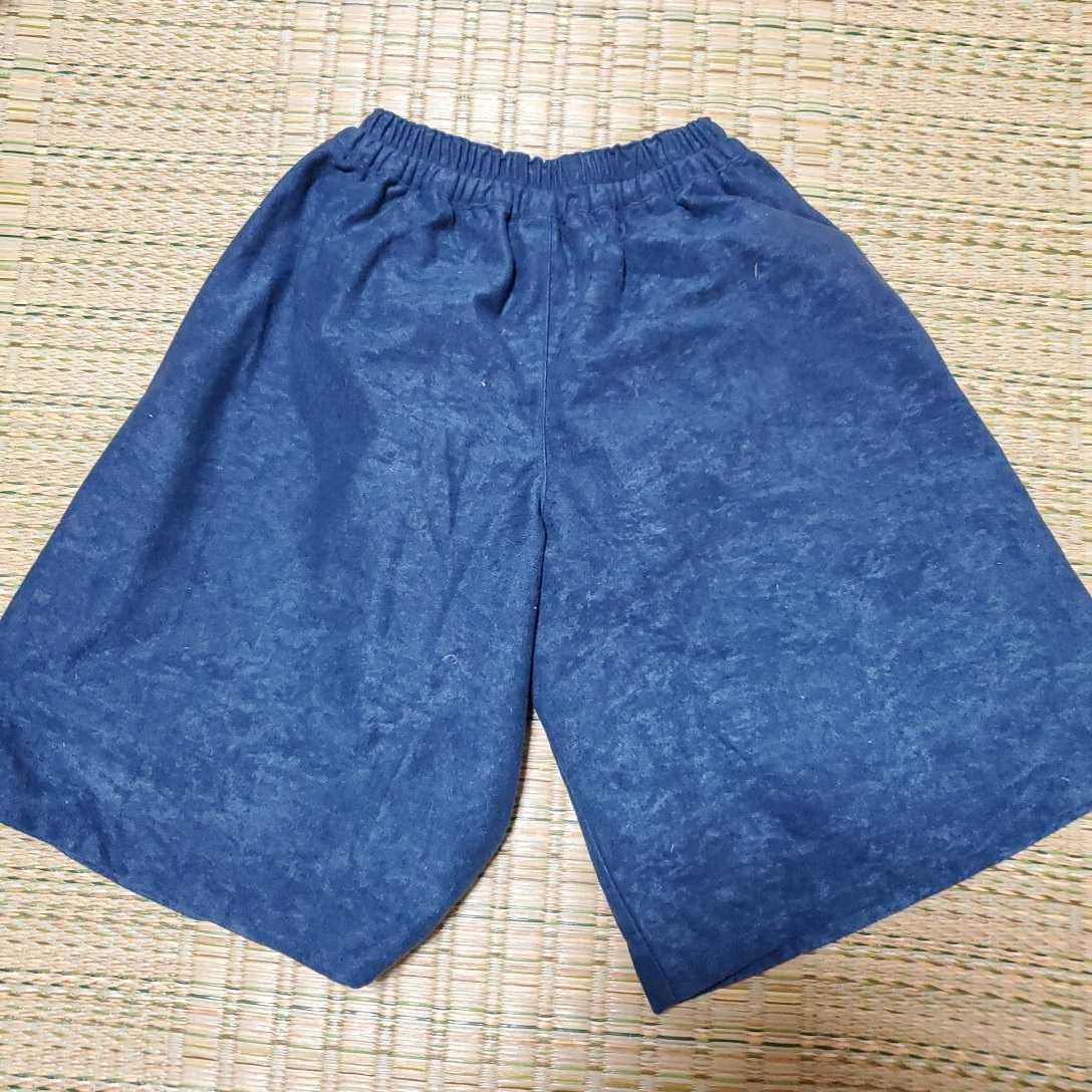 130 スエード調 薄手 ガウチョパンツ ワイドパンツ 紺 ブルー_画像2
