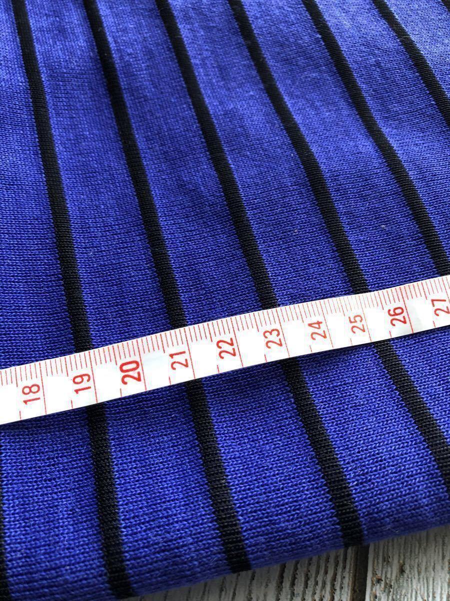 青×黒ボーダーニット生地☆アパレル残布☆巾55×2長さ66センチ