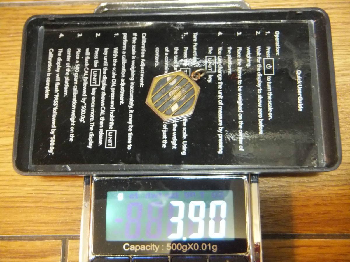 3.90グラム 戦前戦中戦後 金工象嵌 硬質な金属 格子枠 懐中時計の鎖用飾り提げ物 ジャパンヴィンテージアンティークチャームフォブ★_画像8