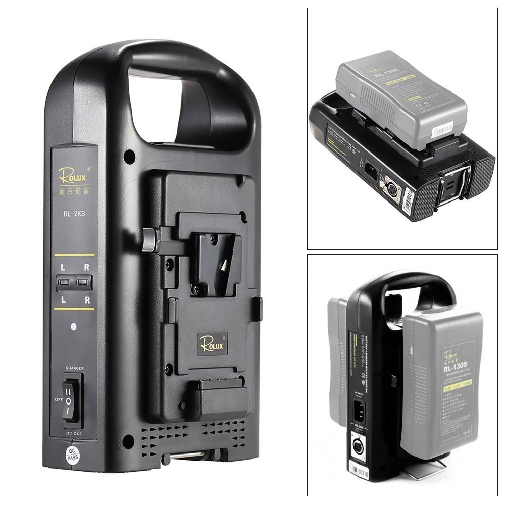 SONY Vマウントカムコーダーバッテリー対応 2チャンネル デュアル充電器 ROLUX RL-2KS_画像1