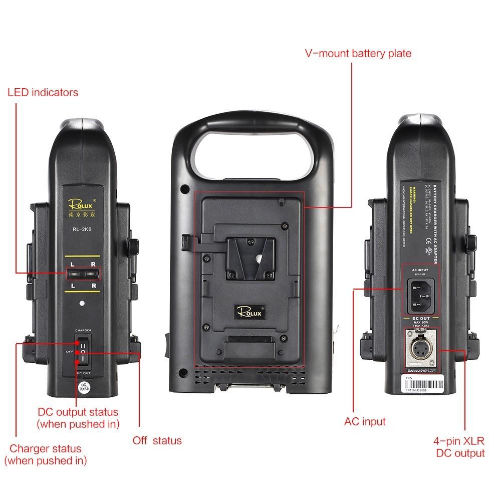 SONY Vマウントカムコーダーバッテリー対応 2チャンネル デュアル充電器 ROLUX RL-2KS_画像9