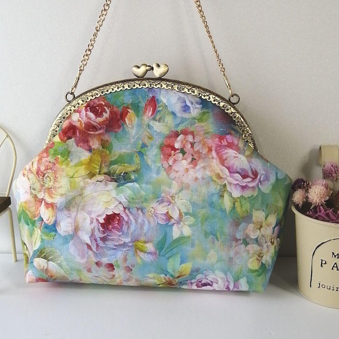 花柄 がま口バッグ ハンドメイド