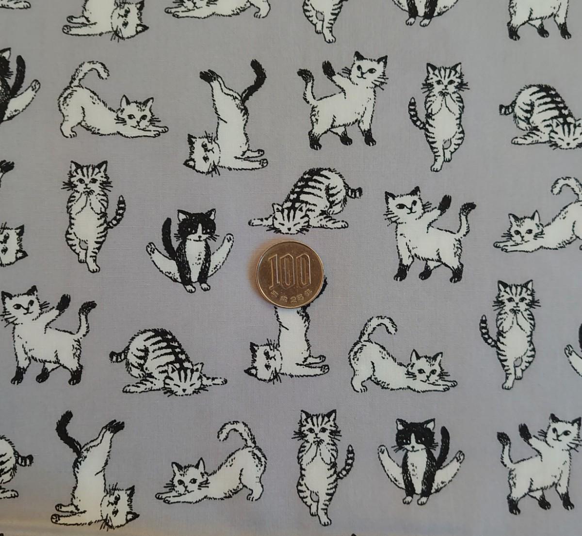 ブロード生地 日本製 ヨガポーズ 猫 110×50cm yoga cat