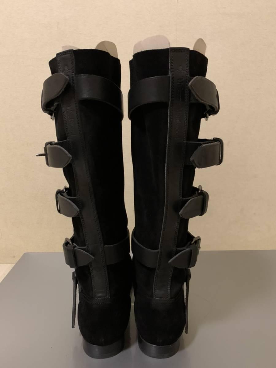 ヴィヴィアン・ウエストウッド/スエードとレザーのバックル付き平底海賊ブーツ/黒/EUサイズ 38(24.5 cm)
