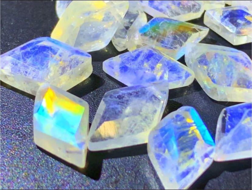 天然石 宝石質レインボームーンストーン ダイヤカット27個_画像2