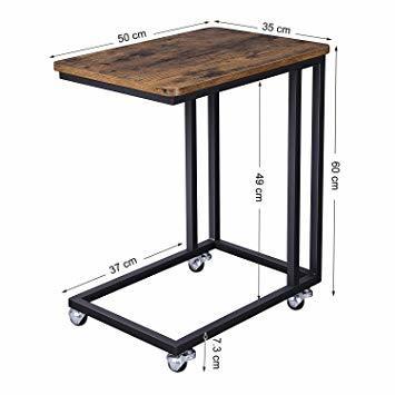 ヴィンテージ サイドテーブル VASAGLE サイドテーブル ソファ ナイトテーブル 広い天板 キャスター付き 幅50_画像5
