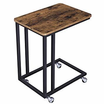 ヴィンテージ サイドテーブル VASAGLE サイドテーブル ソファ ナイトテーブル 広い天板 キャスター付き 幅50_画像1