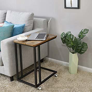 ヴィンテージ サイドテーブル VASAGLE サイドテーブル ソファ ナイトテーブル 広い天板 キャスター付き 幅50_画像3