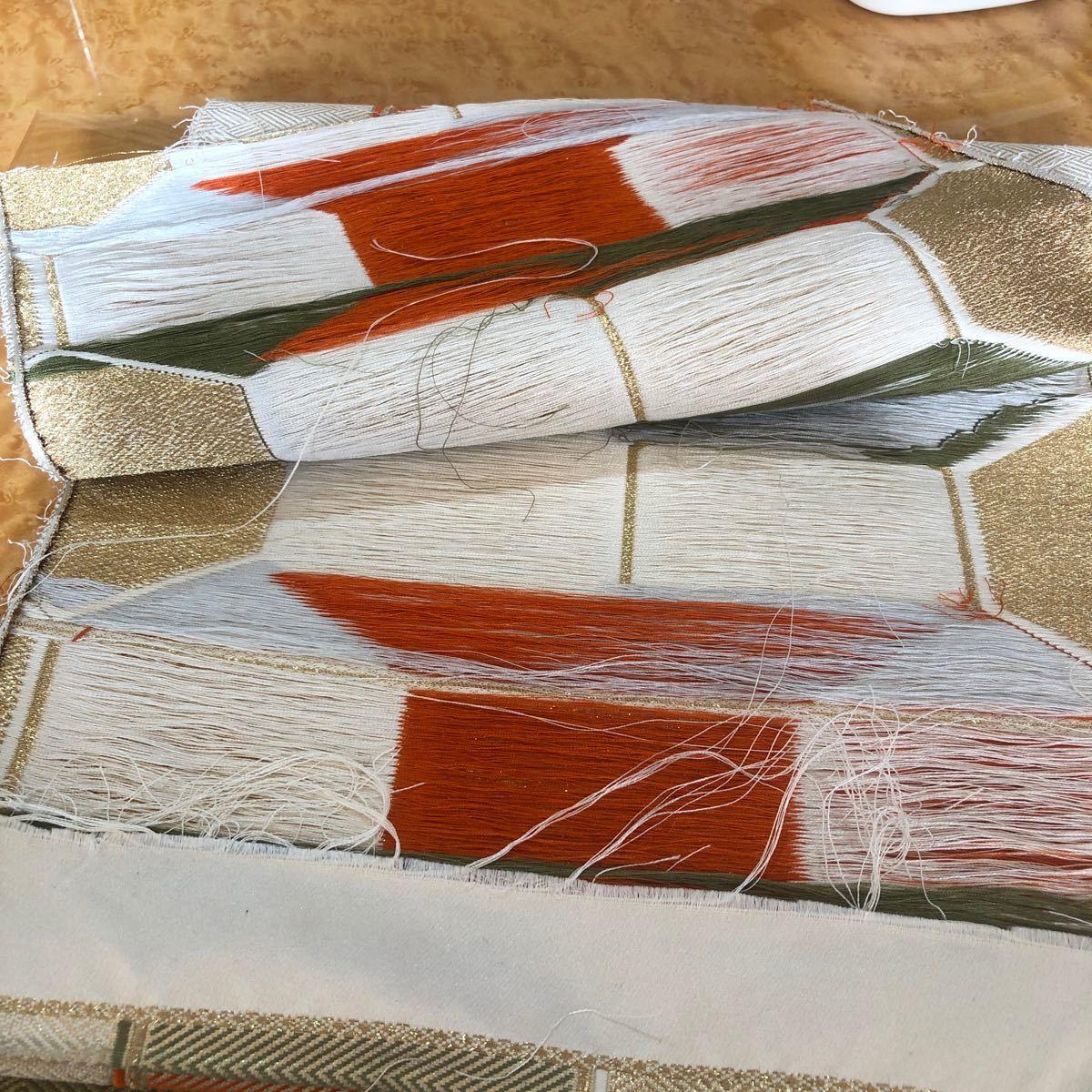 正絹帯ほどき  亀甲 菱形 赤 みどり はぎれ  帯地 吊るし飾り 着物リメイク ランチョンマット 和装バック タペストリー