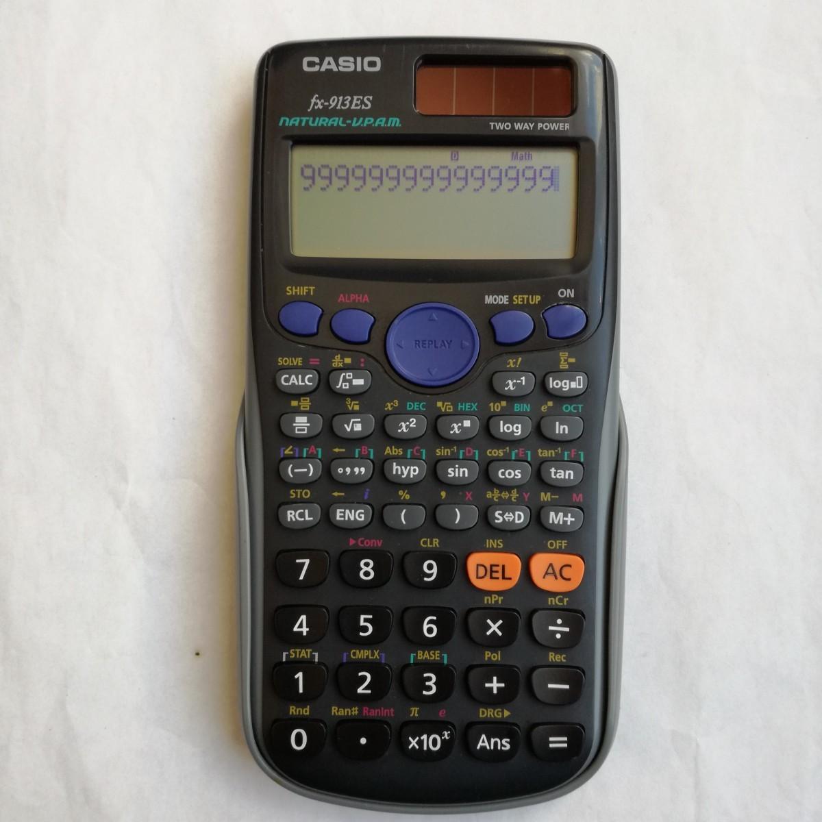 【動作確認済】CASIO カシオ 関数電卓 fx-913ES 数学自然表示 310関数 10桁 ハードケース付き 中古