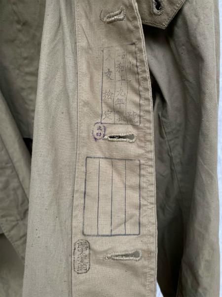昭和初期 戦中 旧日本軍 フード付 フラップポケット Aライン コート 外套 JAPAN VINTAGE ジャパンヴィンテージ 昭和十九年製 小號 大支検定_画像5