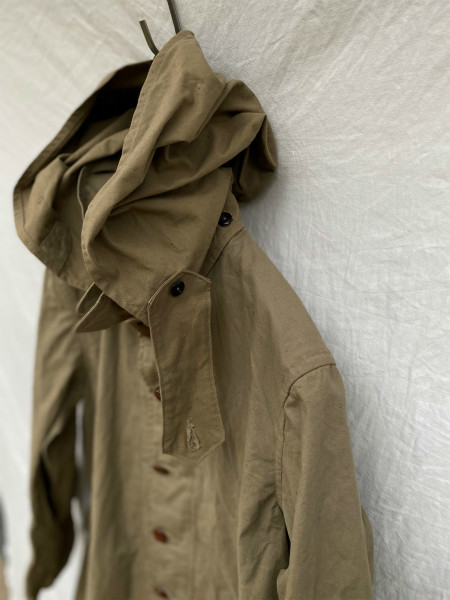 昭和初期 戦中 旧日本軍 フード付 フラップポケット Aライン コート 外套 JAPAN VINTAGE ジャパンヴィンテージ 昭和十九年製 小號 大支検定_画像3