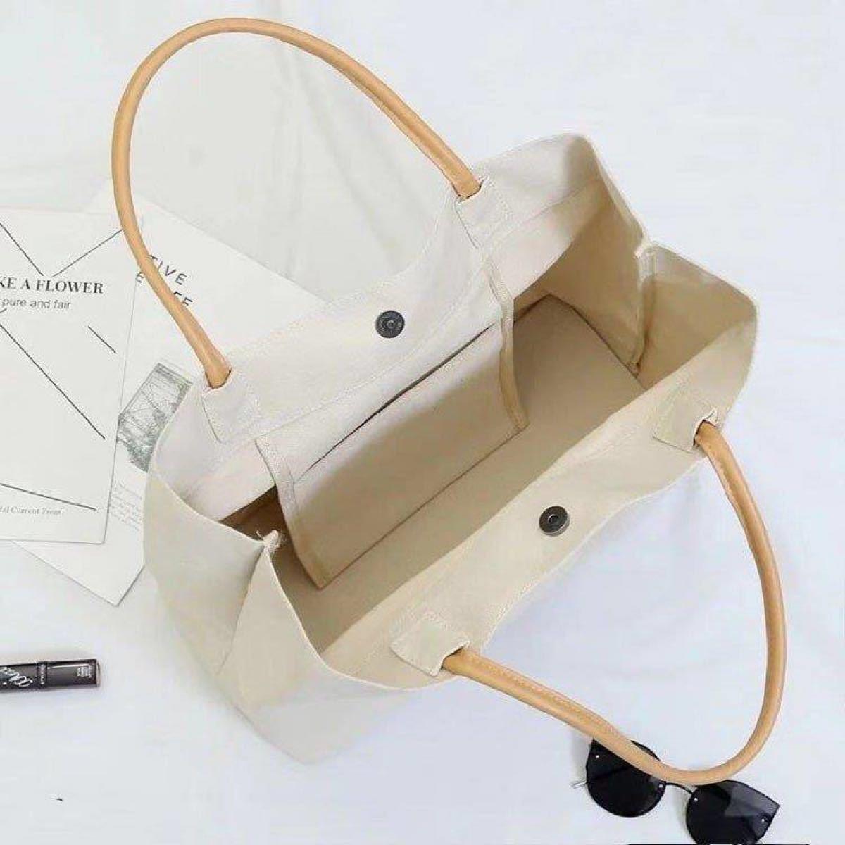 トートバッグ レディース 布 キャンバス 生地 大容量 シンプル エコバッグ ホワイト