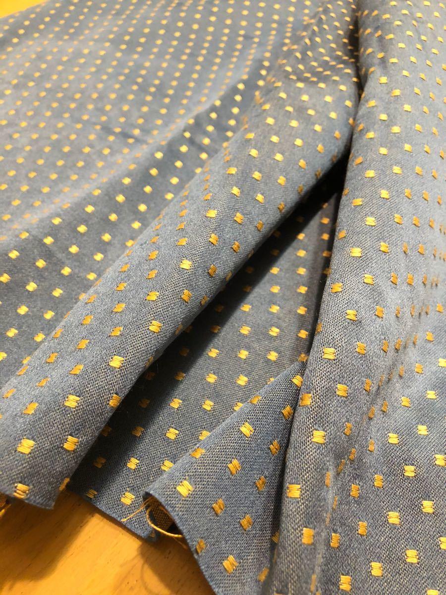 ハギレ 生地 ブルーに黄色のドット ハンドメイド カルトナージュ インテリアに