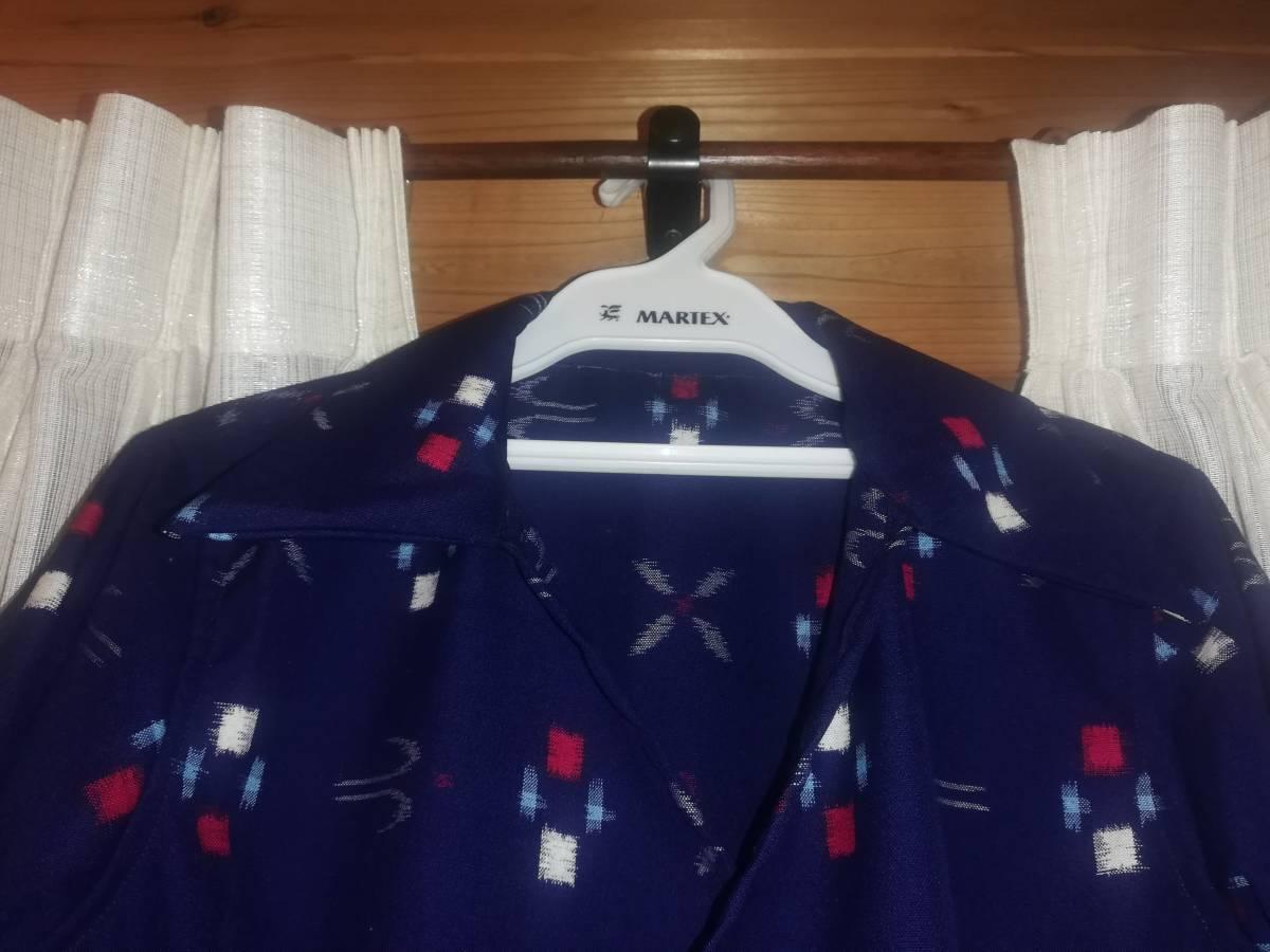 着物リメイク 襟つきカシュクールワンピース Mサイズ 9号相当 ハンドメイド