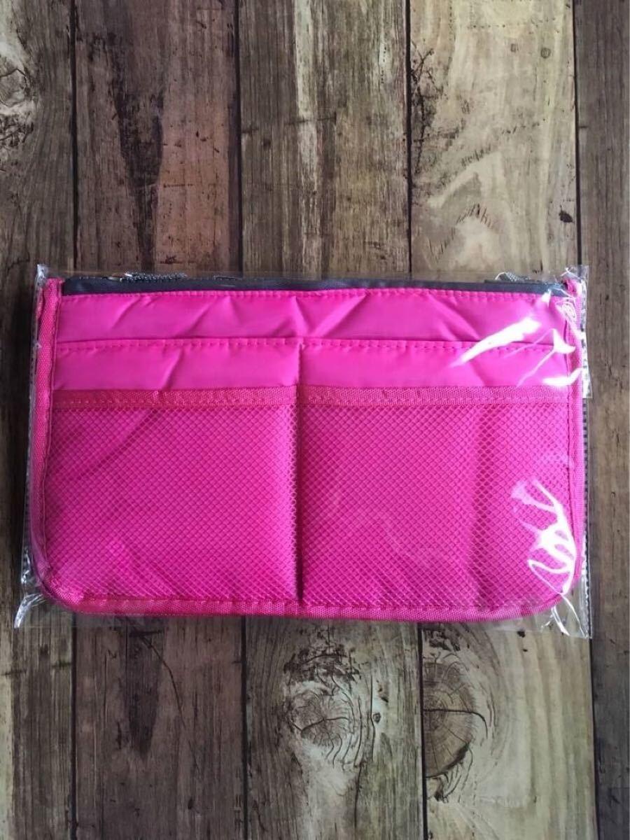大好評バッグインバッグ ローズピンク 小物収納 化粧ポーチ 収納上手