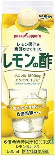 ポッカサッポロ レモン果汁を発酵させて作ったレモンの酢 (紙パック) 500ml×6本_画像1
