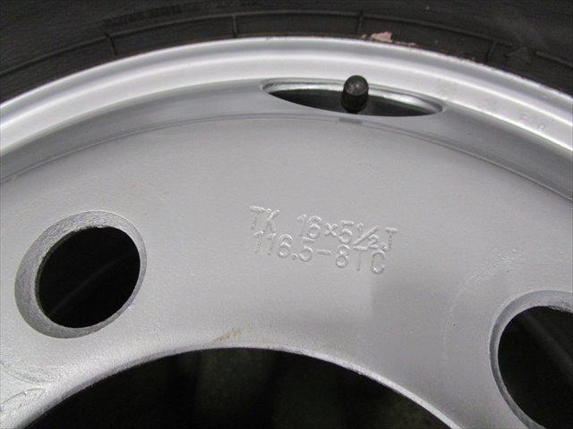 セール スタッドレス 205/70R16 DUNLOP LT03 10~12mm いすゞエルフ TK16×5.5J 116.5-8TC 5穴 両面再塗装 6本セット_画像4