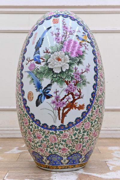 C1110 色絵色彩 景徳鎮 微細画 花鳥図 牡丹 飾り壷 飾壷 飾り物 置物 オブジェ