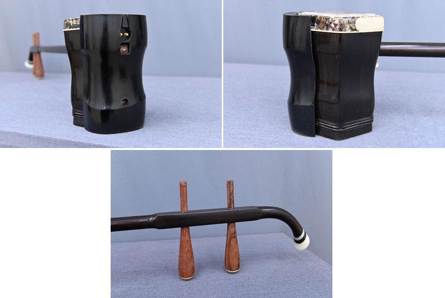GB392 上海民族楽器 敦煌牌 古唐木 ヘビ皮 二胡 弦楽器 ハードケース付 弓付_画像4