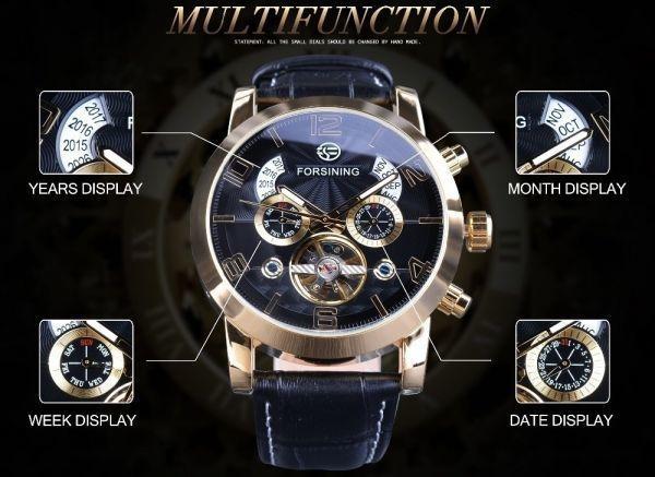 FORSINING 腕時計 海外ブランド メンズ 高級 多機能メカニカル自動アナログ時計 日付 曜日表示 革バンド 自動巻_画像1