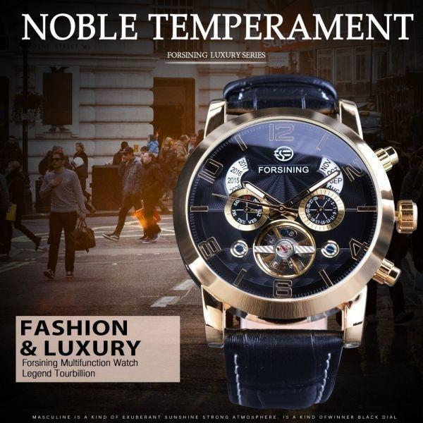FORSINING 腕時計 海外ブランド メンズ 高級 多機能メカニカル自動アナログ時計 日付 曜日表示 革バンド 自動巻_画像3