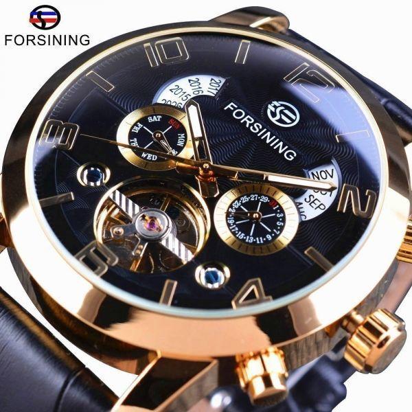 FORSINING 腕時計 海外ブランド メンズ 高級 多機能メカニカル自動アナログ時計 日付 曜日表示 革バンド 自動巻_画像2
