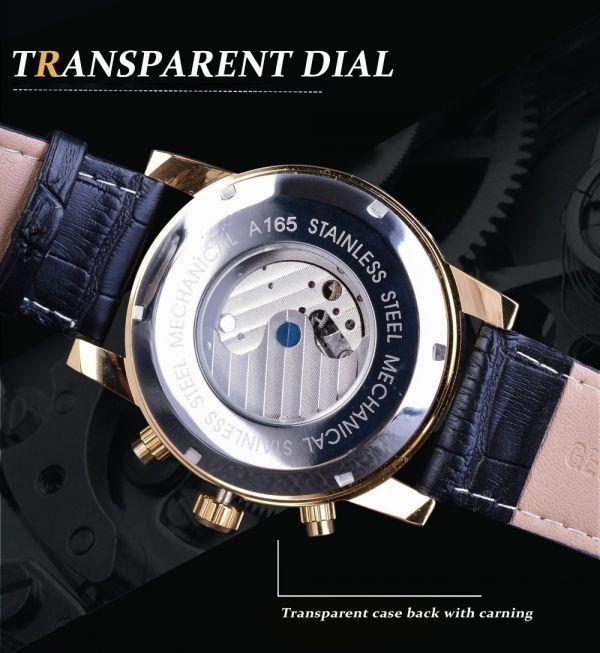 FORSINING 腕時計 海外ブランド メンズ 高級 多機能メカニカル自動アナログ時計 日付 曜日表示 革バンド 自動巻_画像5