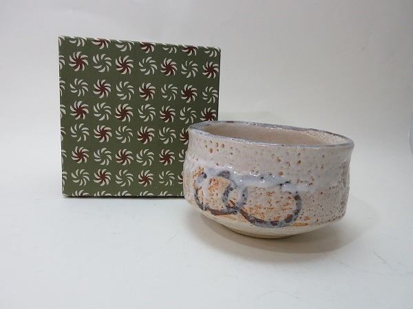 IG02010 【Old white matcha bowl paper box pottery seal with tea utensils】Inspection) Tea ceremony tea utensils Tea utensils glaze practice Hospitality visitor tea bowl tea party Tea ceremony writer's article in the name Kogan i
