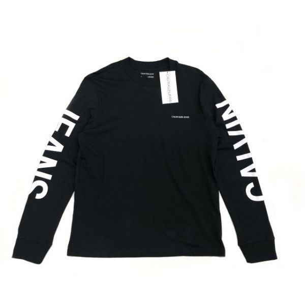 1円~!売切!【正規新品】Calvin Klein Jeans CK 袖ロゴ ビッグロゴ 高品質 上質 長袖 Tシャツ ロンT ロゴT カットソー(M)黒 181215-m20_画像5