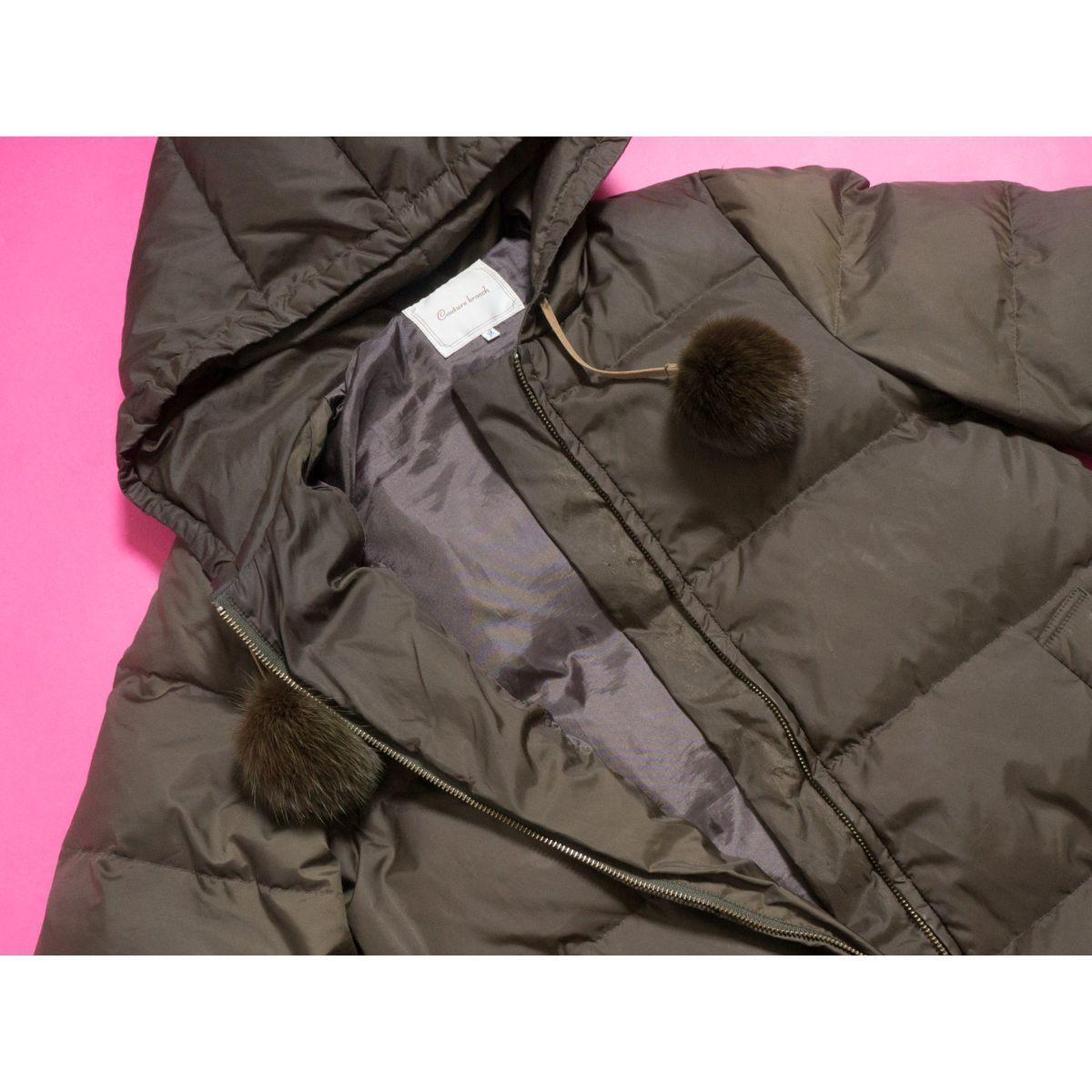 Couture brooch ダウンジャケット リアルファー ラビットファー 防寒 ジャンパー カジュアル かわいい クチュールブローチ 38 カーキ_画像4