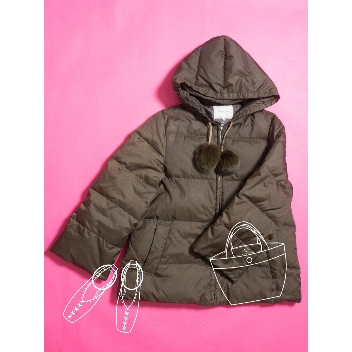 Couture brooch ダウンジャケット リアルファー ラビットファー 防寒 ジャンパー カジュアル かわいい クチュールブローチ 38 カーキ_画像1