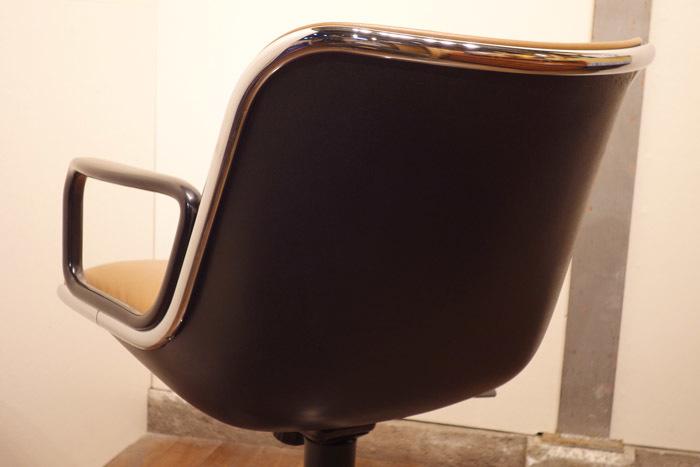 名作 Knoll ノール ポロックチェア B 茶革 アーム付 昇降機能付/hhstyleモダニカACMEイームズネルソンカッシーナ_画像5