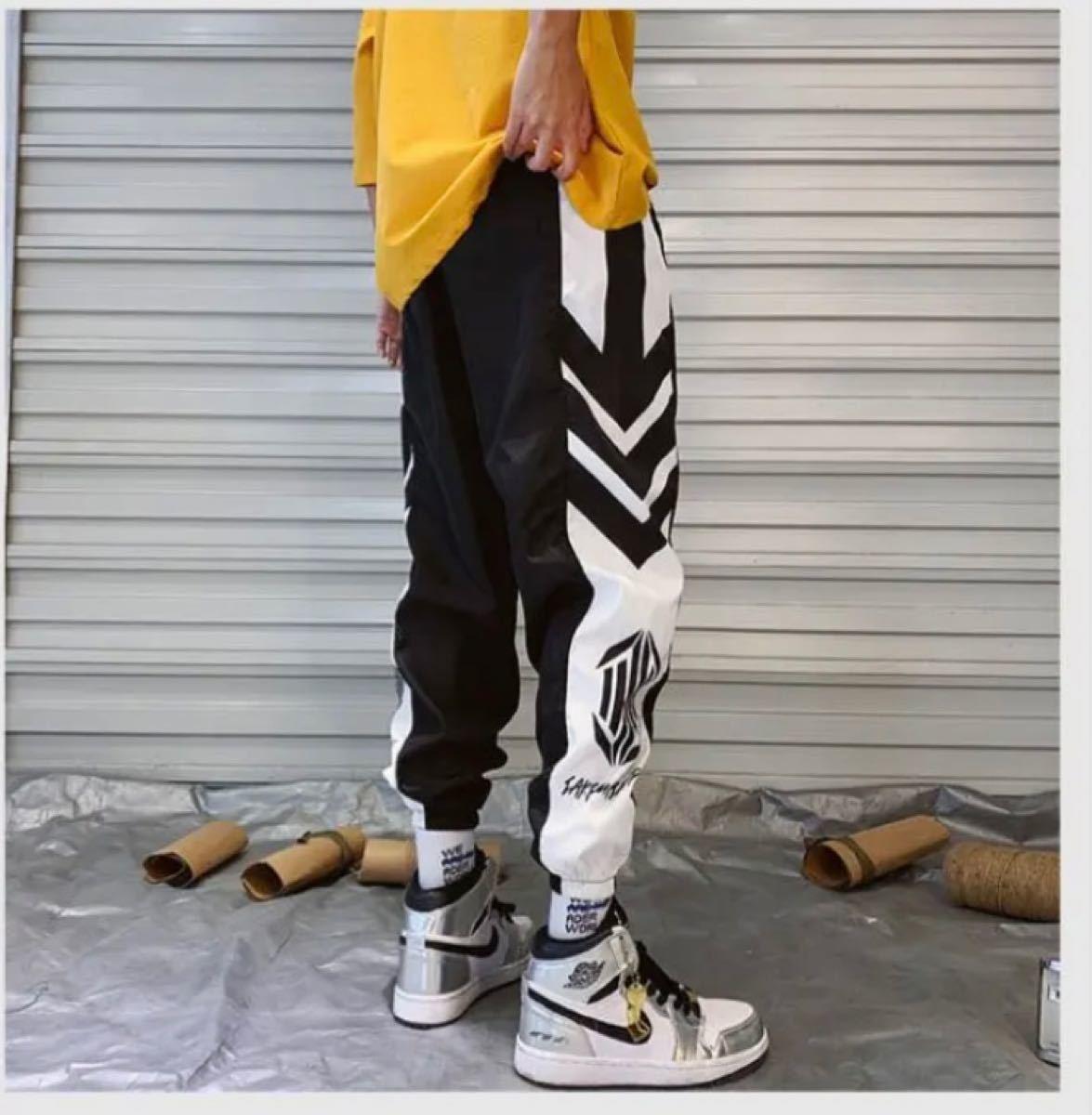 ジョガーパンツ 韓国 メンズ ラインパンツ ストリート ジャージ 黒 XL